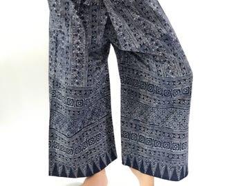 MH0051 ThaiHandmade Mo Hom Phare Indigo Thai Fisherman Pants Wide Leg pants, Wrap pants, Unisex pants
