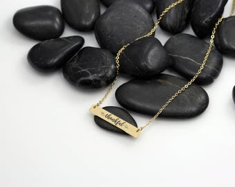 Thankful Motivational Statement Bar Necklace | Dainty | Minimalist | Engraved Inspirational GOLD Toned Jewelry