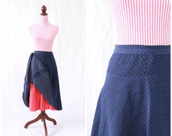 Vintage 1940s Skirt / 40s Skirt / Swiss Dot / Navy Blue / Red Petticoat / Swing / Polka Dots