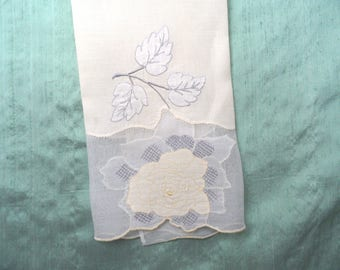 Pale yellow and grey appliqued sheer insert guest hand towel / vintage linen towel