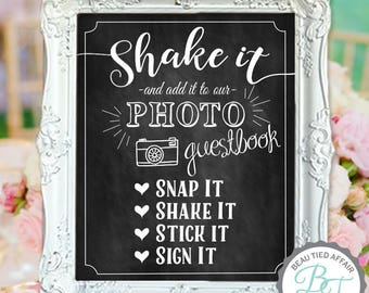 Photo Guestbook Sign - Shake It Guest Book Chalkboard DIGITAL Print (No physical item sent)