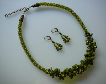 Olive Green Beaded Necklace and Earrings