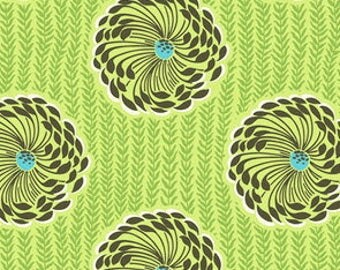 CLEARANCE Delhi Blooms Lime Fabric Amy Butler Soul Blossoms Quilters Cotton Lime Green Brown Aqua 1 Yard