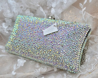 Swarovski ELEMENTS Crystal Minaudiere Silver AB Metal case rectangle box clutch Purse Pillow bag
