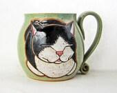 Tuxedo Cat Mug, pottery mug, cat mug, great Christmas Day gift idea, cat loaf mug,cat art,holds approx 13 oz, dishwasher and microwave safe.