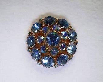 """Vintage AB Blue Domed Rhinestone Brooch    1 5/8"""" W x 5/8"""" H"""
