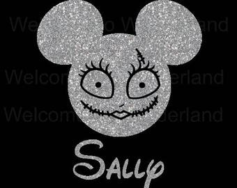 DIY Rag Doll Mouse Head Personalized Sally Sparkly Glitter Girl Halloween Name Iron On Decal Custom Color