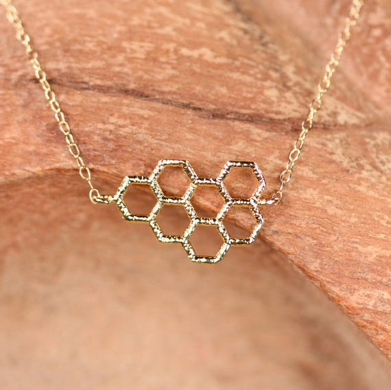Honeycomb necklace in gold - save the bees - silver honeycomb necklace