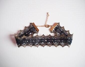 Halloween Costume, Black Lace Choker, Black & Gold Metallic Lace Choker, Black Crochet Choker Necklace, Metallic Gold Gothic Choker,