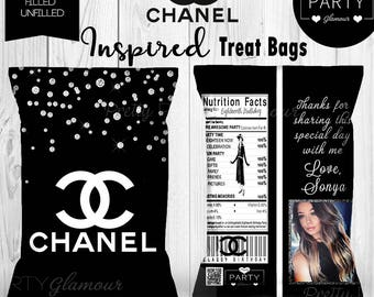 Sweet Sixteen 16 Chanel Classy Birthday Theme Personalized Treat Popcorn Bags Customized Favors Bridal Shower Quince 21 13 15 18 21 Diamonds