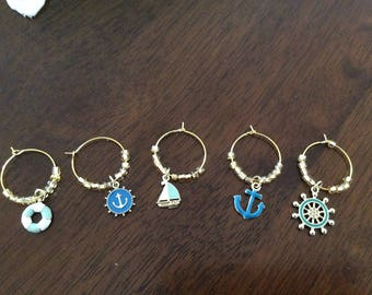 Wine Glass Markers Nautical Charms