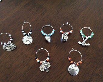 Wine Glass Markers Sports Charms