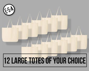 12 Large Totes Of Your Choice. Reusable Grocery Tote.