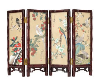 Chinese Silk Painting Table Screen, Oriental Tabletop Screen, Asian Tabletop 4-Panel Painted Silk Screen, Chinese Watercolor on Silk  Screen