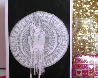 Mandala Unicorn, Hand Illustrated Greetings Card , Unicorn Card, Mandala Card, Illustrated Unicorn, Monochrome Card, Illustrated Card
