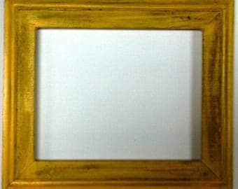 "1-3/4"" Yellow Distressed Picture Frame"