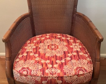 Upcycled 1970's Faux Rattan/Wicker Armchair with New Suzani Fabric Seat NO SHIPPING