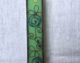 MEZUZAH CASE GREEN Color with Beads Filligree.Stained Glass-Wall Hanging.