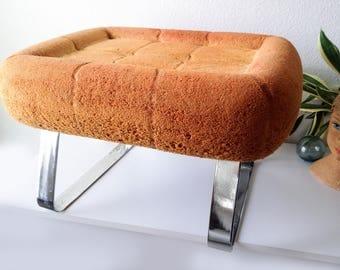 Vintage chrome ottoman Percival Lafer mid century footstool modern decor retro foot stool
