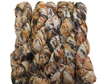 SALE New! Sari Silk Ribbon, 100g , Saffari