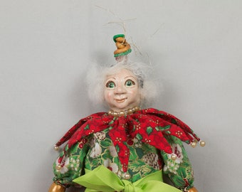 Christmas Elf doll Hand made puppet OOAK art doll Mixed media art doll 18 inches tall