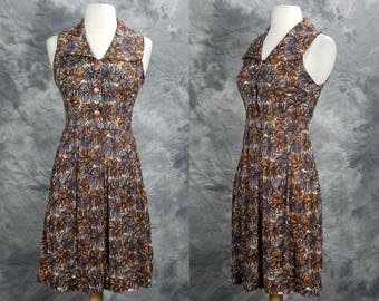 1960s floral button up dress with collar, nylon, summer, sun dress, fit and flare, small