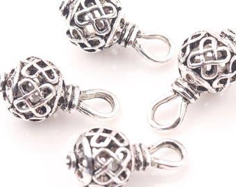 4 breloques argent Bali, filigrane d'argent, perles robustes, charmes de l'infini, boho, Bohème, breloques USA