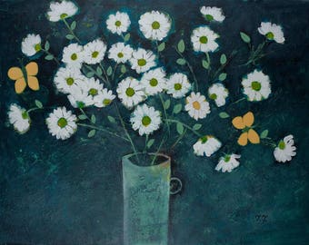 Dark Grey Floral Painting, Big Artwork, White Flowers Painting, Yellow Butterfly Painting, Daisy Painting, Artwork for Living Room