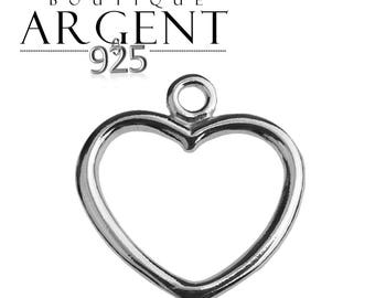 Charm 925 sterling silver heart shaped 15.4 x 14.5 mm 925