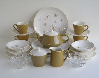 Star Glow Pattern By Royal China Service for 4 Dining Guests, Mid Century Dinnerware-Serving Pieces Gold Atomic Stars  Made in USA-