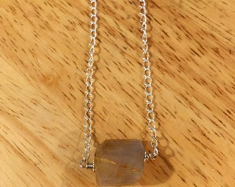 Rutilated quartz necklace. Choker style. Sterling silver chain with lobster clasp