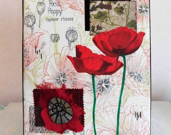 Red Poppy Mixed Media Collage