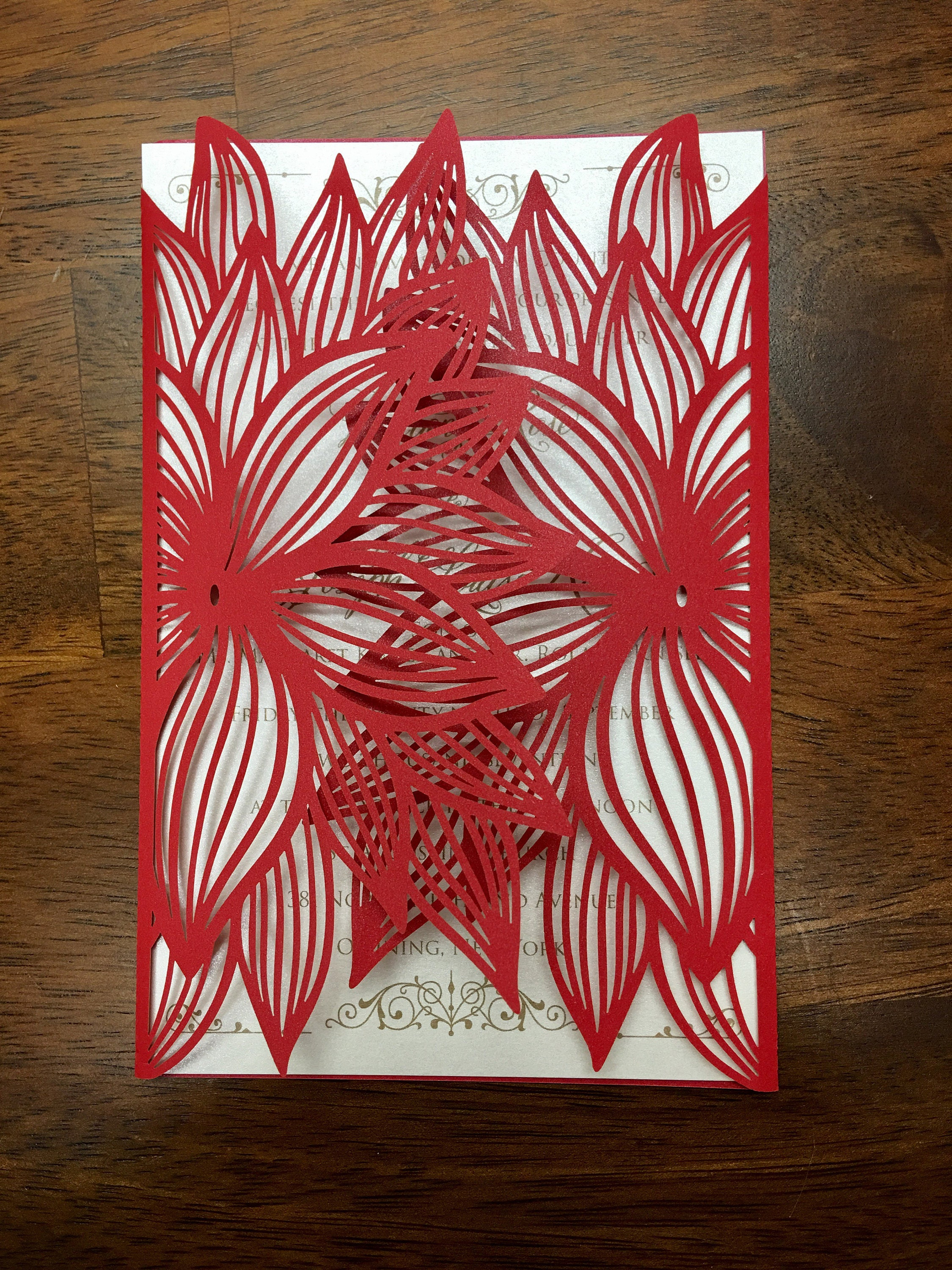 Poinsettia Christmas Laser Cut Wedding Party Invitations Wedding Die ...