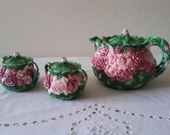 "Haldon Group ""Rose"" teapot with sugar and creamer"