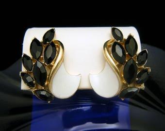 Elegant Crown Trifari Earrings White Enamel Black Rhinestone Clip Ons Gold Tone