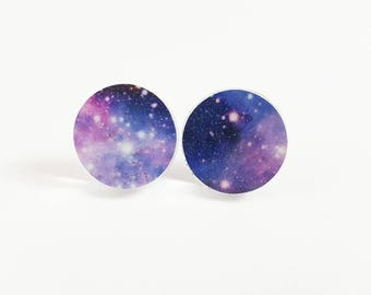 Glitter Galaxy Earrings <More Options Available> <Stainless Steel> <.6 inch circles> <Read Full Description>