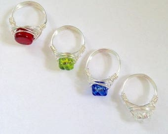 Wire Wrapped Rings - Venetian glass rings - Gifts under 50 - Wire wrap jewelry - Colorful Jewelry - Colorful rings - Wire Rings