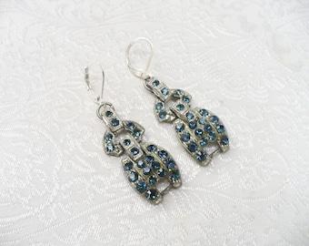 Authentic Vintage 1920s Art Deco Blue Rhinestone Earrings - silver tone pot metal - lever back ear wire - deep montana blue -something blue