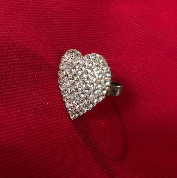 Vintage Heart of Ice Rhinestones Silvertone 80s Bling Ring adjustable size