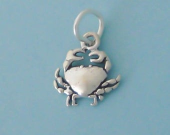 1 Sterling Silver Tiny Crab Charm, Mini, Made in USA