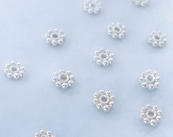 10 Sterling Silver 5mm Daisy Spacer Beads Bali