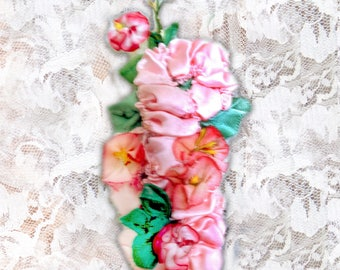 "18th Century Ladies Pompon Floral Hair Ornament  ""Ashley"" PINK"