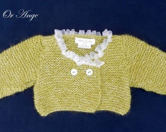 Green knit trimmed with white organza - 6 months baby vest