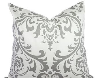15% OFF SALE Two Grey Damask Decorative Throw Pillow Covers in Grey and White - Cushion Cover 12x16 12x18 14x14 16x16 18x18 20x20 22x22 24x2