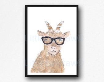 Goat Print Geek Goat Cool Nerd Wearing Glasses Goat Watercolor Painting Wall Art Animal Art Print Bedroom Wall Decor Goat Gift