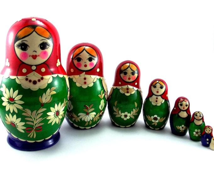 Nesting Dolls 8 pcs Russian matryoshka Babushka doll for kids set Wooden stacking authentic genuine toys Birthday gift for mom Inlaid