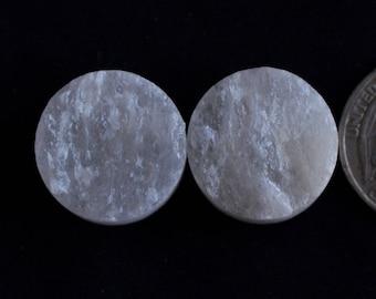 1 Pair White Selenite Druzy Gemstone,20mm,76Cts Selenite Jewelry Making Gemstone,Handmade Selenite Druzy Gemstone#DH105