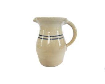 Vintage Blue White Striped Pottery Crock Stoneware Pitcher