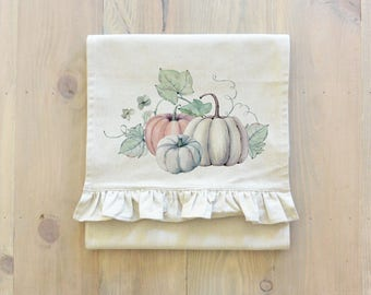 Watercolor Pumpkins Table Runner (Style 2) _table setting, tableware, place setting, housewarming, dinner, event, thanksgiving, fall