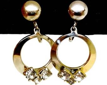 Vintage Rhinestone Earrings,Circle Earrings,Gold Tone Screw Back Earrings,Dainty Sparkly Earrings